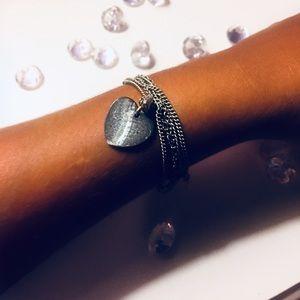 Silver Multi-chain Charm Bracelet